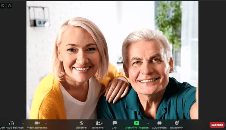 Coaching mit einem Ehepaar über die Plattform Zoom